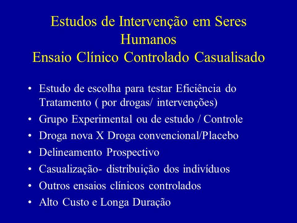 Estudos de Intervenção em Seres Humanos Ensaio Clínico Controlado Casualisado Estudo de escolha para testar Eficiência do Tratamento ( por drogas/ int