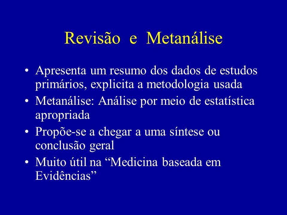 Revisão e Metanálise Apresenta um resumo dos dados de estudos primários, explicita a metodologia usada Metanálise: Análise por meio de estatística apr