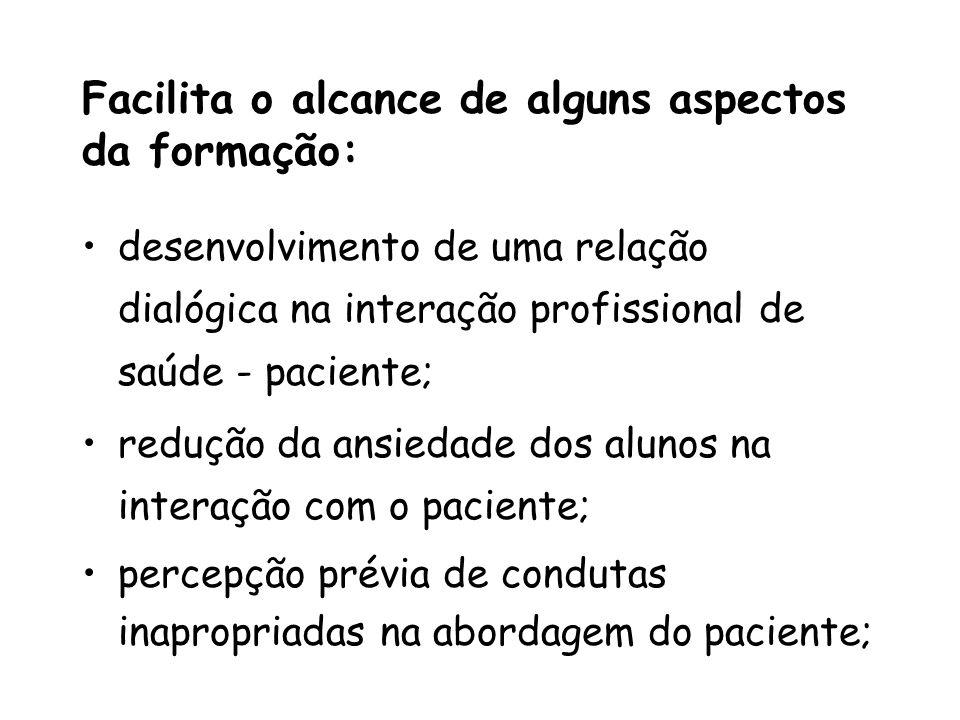 Facilita o alcance de alguns aspectos da formação: desenvolvimento de uma relação dialógica na interação profissional de saúde - paciente; redução da