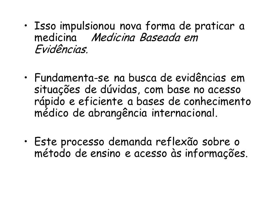 Isso impulsionou nova forma de praticar a medicina Medicina Baseada em Evidências. Fundamenta-se na busca de evidências em situações de dúvidas, com b