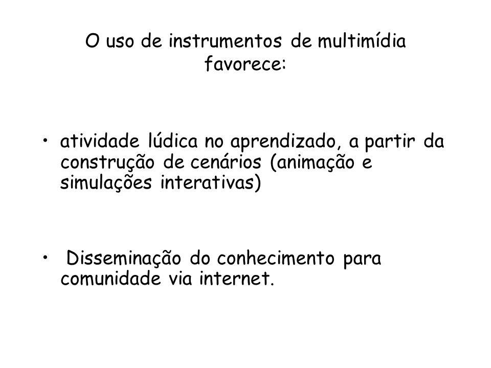 O uso de instrumentos de multimídia favorece: atividade lúdica no aprendizado, a partir da construção de cenários (animação e simulações interativas)