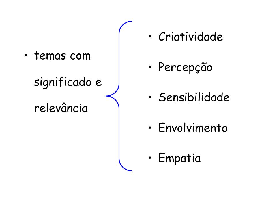 temas com significado e relevância Criatividade Percepção Sensibilidade Envolvimento Empatia