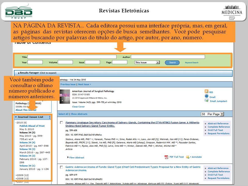 Revistas Eletrônicas NA PÁGINA DA REVISTA...
