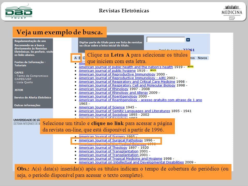 Revistas Eletrônicas Veja um exemplo de busca.