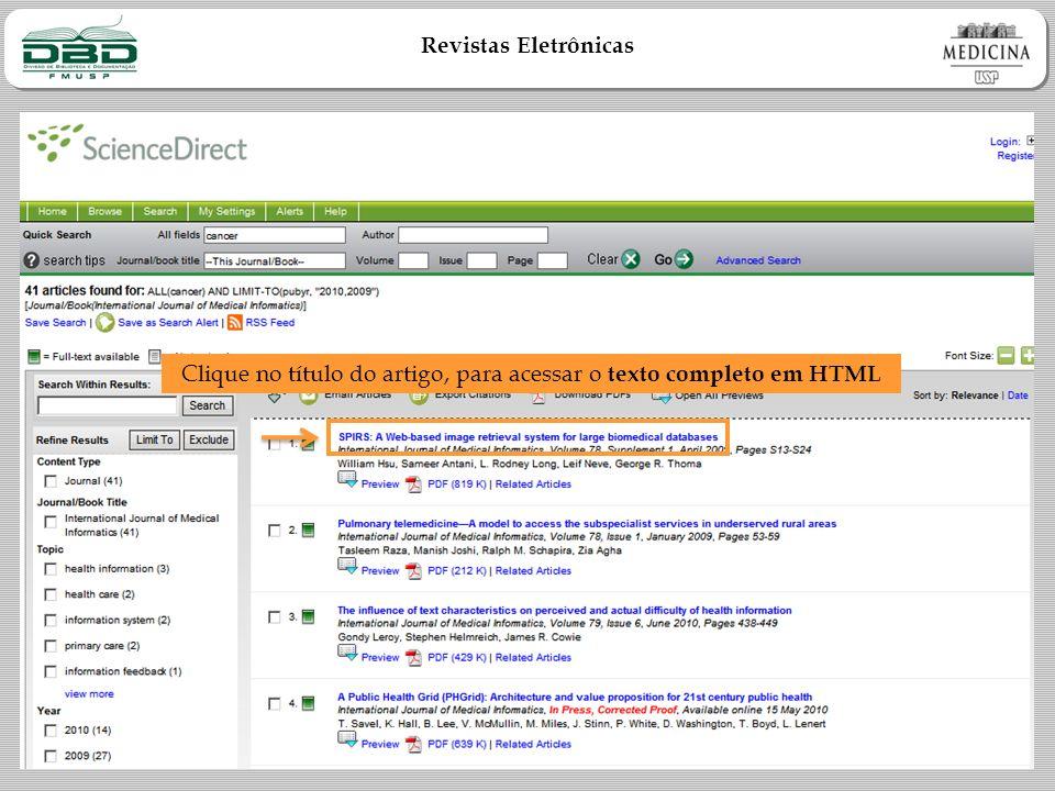 Revistas Eletrônicas Clique no título do artigo, para acessar o texto completo em HTML