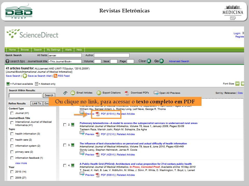 Revistas Eletrônicas Ou clique no link, para acessar o texto completo em PDF