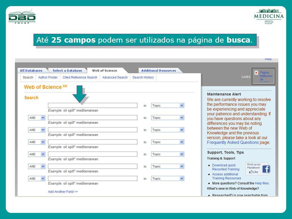 Até 25 campos podem ser utilizados na página de busca.