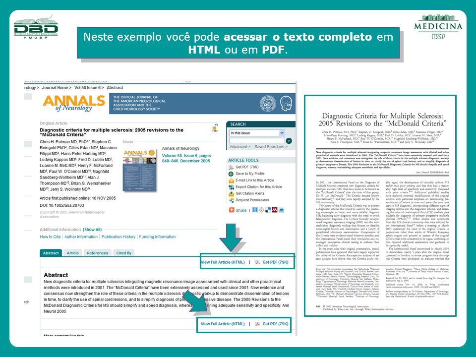 Neste exemplo você pode acessar o texto completo em HTML ou em PDF.
