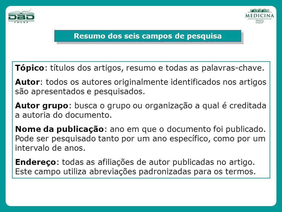 Resumo dos seis campos de pesquisa Tópico: títulos dos artigos, resumo e todas as palavras-chave. Autor: todos os autores originalmente identificados