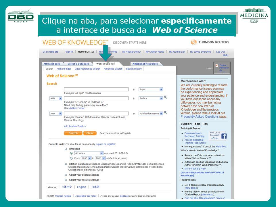 Clique na aba, para selecionar especificamente a interface de busca da Web of Science