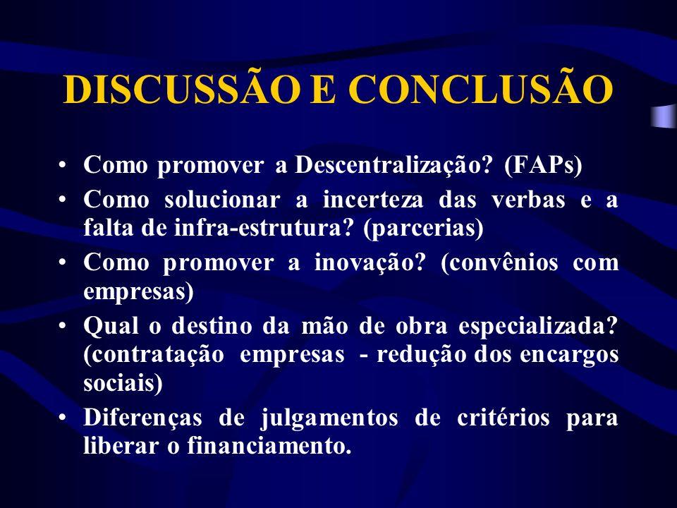 DISCUSSÃO E CONCLUSÃO Como promover a Descentralização.