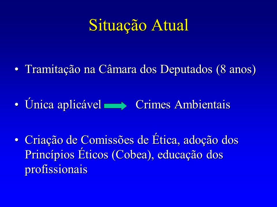 Situação Atual Tramitação na Câmara dos Deputados (8 anos)Tramitação na Câmara dos Deputados (8 anos) Única aplicável Crimes AmbientaisÚnica aplicável