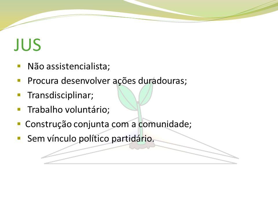 JUS Não assistencialista; Procura desenvolver ações duradouras; Transdisciplinar; Trabalho voluntário; Construção conjunta com a comunidade; Sem víncu