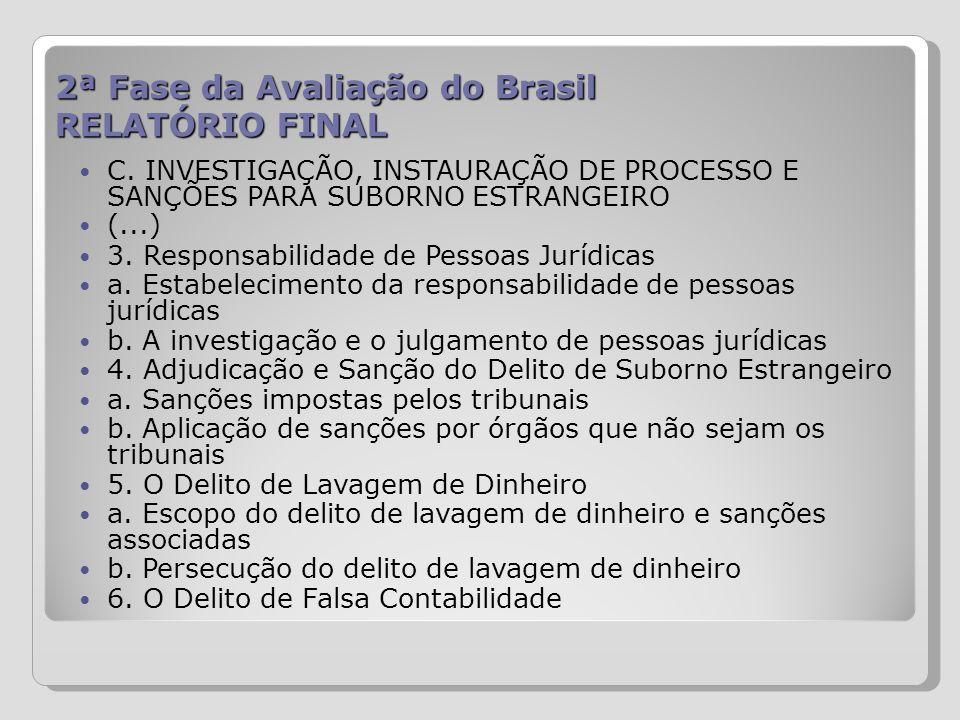 2ª Fase da Avaliação do Brasil RELATÓRIO FINAL C. INVESTIGAÇÃO, INSTAURAÇÃO DE PROCESSO E SANÇÕES PARA SUBORNO ESTRANGEIRO (...) 3. Responsabilidade d