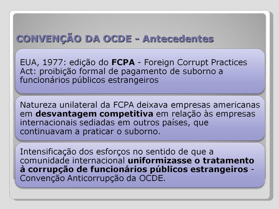 CONVENÇÃO DA OCDE - Conteúdo Artigo 1 : Delito de Corrupção de Funcionários Públicos Estrangeiros Artigo 2 : Responsabilidade de Pessoas Jurídicas Artigo 3 : Sanções Artigo 4 : Jurisdição Artigo 5 : Execução Artigo 6 : Regime de Prescrição Artigo 7 : Lavagem de Dinheiro Artigo 8 : Contabilidade Artigo 9 : Assistência Jurídica Recíproca Artigo 10 : Extradição Artigo 11 : Autoridades Responsáveis