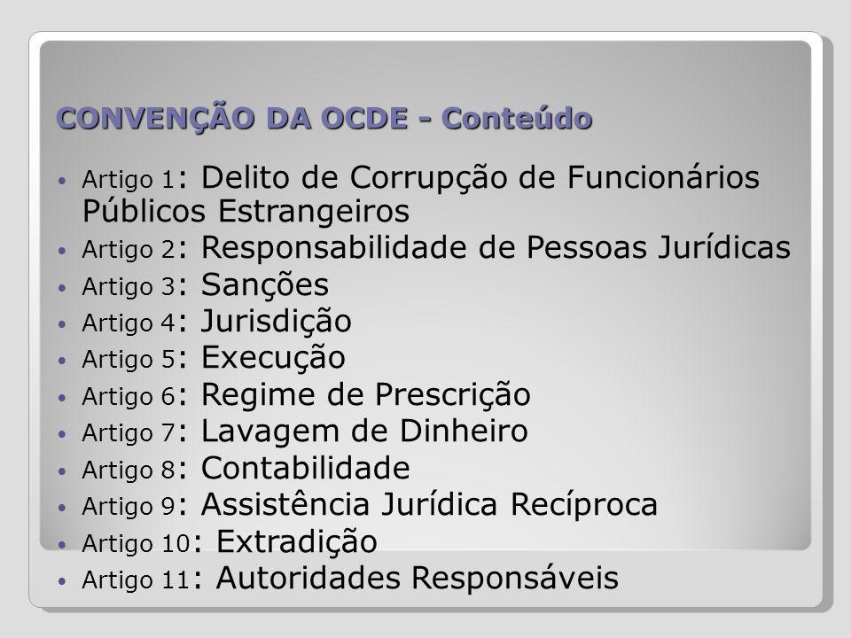 CONVENÇÃO DA OCDE - Conteúdo Artigo 1 : Delito de Corrupção de Funcionários Públicos Estrangeiros Artigo 2 : Responsabilidade de Pessoas Jurídicas Art