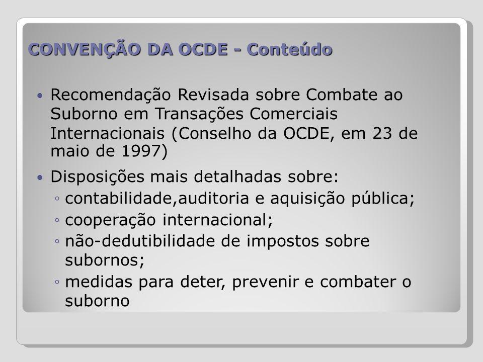 CONVENÇÃO DA OCDE - Conteúdo Recomendação Revisada sobre Combate ao Suborno em Transações Comerciais Internacionais (Conselho da OCDE, em 23 de maio d