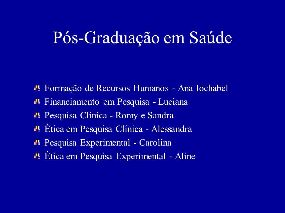 Pós-Graduação em Saúde Formação de Recursos Humanos - Ana Iochabel Financiamento em Pesquisa - Luciana Pesquisa Clínica - Romy e Sandra Ética em Pesqu