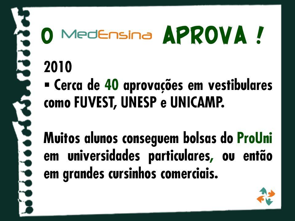 o APROVA .2010 Cerca de 40 aprovações em vestibulares como FUVEST, UNESP e UNICAMP.