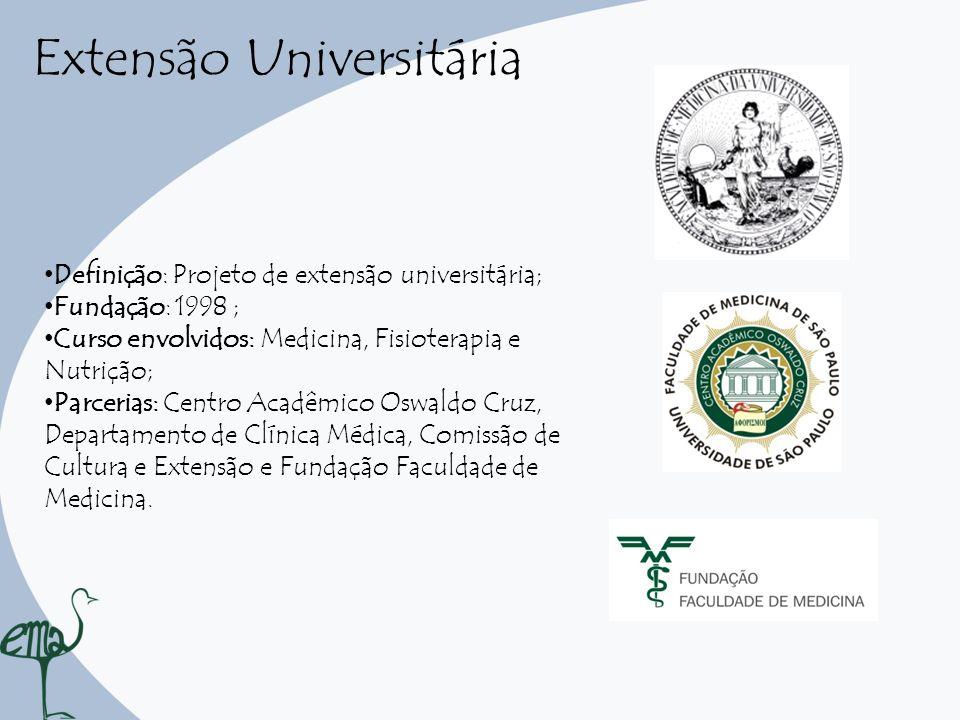 Extensão Universitária Definição: Projeto de extensão universitária; Fundação: 1998 ; Curso envolvidos: Medicina, Fisioterapia e Nutrição; Parcerias: