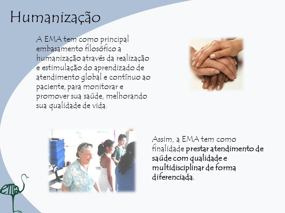 Humanização A EMA tem como principal embasamento filosófico a humanização através da realização e estimulação do aprendizado de atendimento global e c