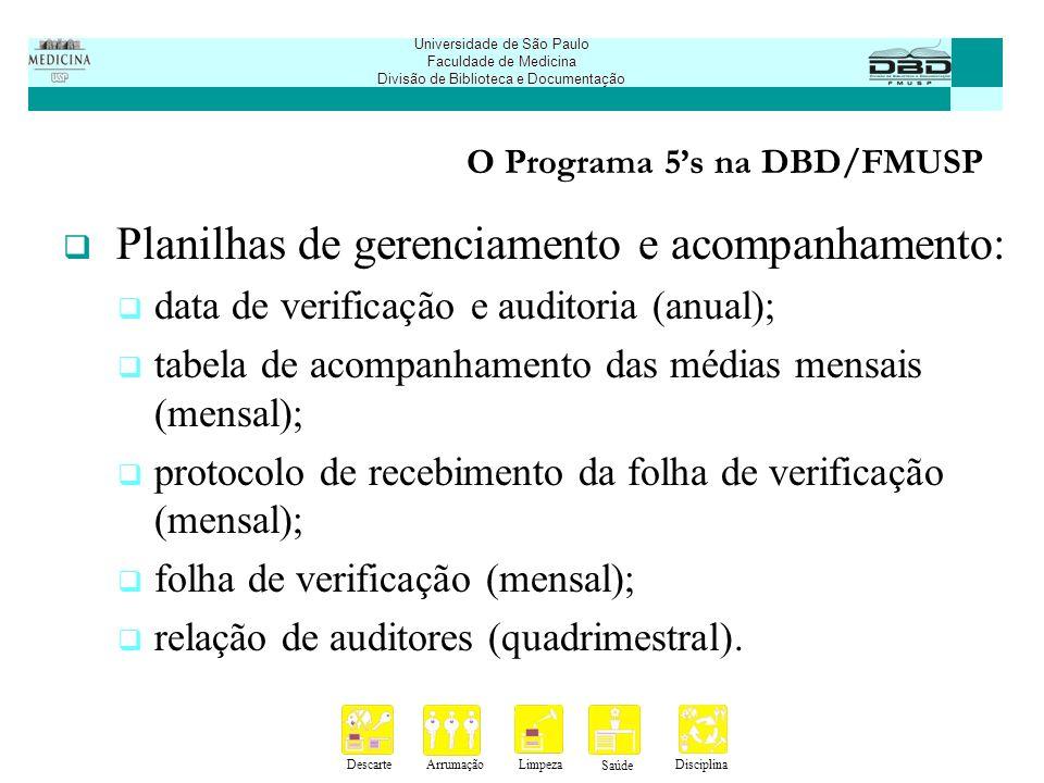 DescarteArrumaçãoLimpeza Saúde Disciplina Universidade de São Paulo Faculdade de Medicina Divisão de Biblioteca e Documentação O Programa 5s na DBD/FMUSP Modelo da planilha de data de verificação e auditoria