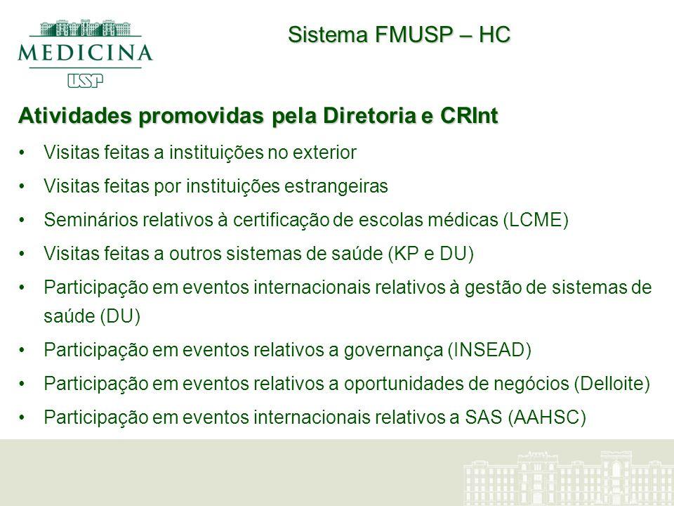 Sistema FMUSP – HC O maior sistema acadêmico de saúde brasileiro Atende cerca de 2,5 milhões de pacientes (3 níveis de assistência) 2.500 leitos Responsàvel por 7.3% das pesquisas brasileiras nas áreas de saúde e ciências biomédicas Orçamento: US$ 1 bilhão/ano ( US$ 1.3 bi) 1.400 estudantes de graduação 1.500 estudantes de pós-graduação 1.000 residentes Ranking:2008: 88 (162) 2009: 68 (111) Higher Education Evaluation and Accreditation Council of Taiwan
