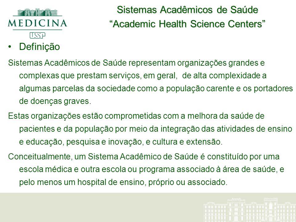 Sistemas Acadêmicos de Saúde Academic Health Science Centers Definição Sistemas Acadêmicos de Saúde representam organizações grandes e complexas que p