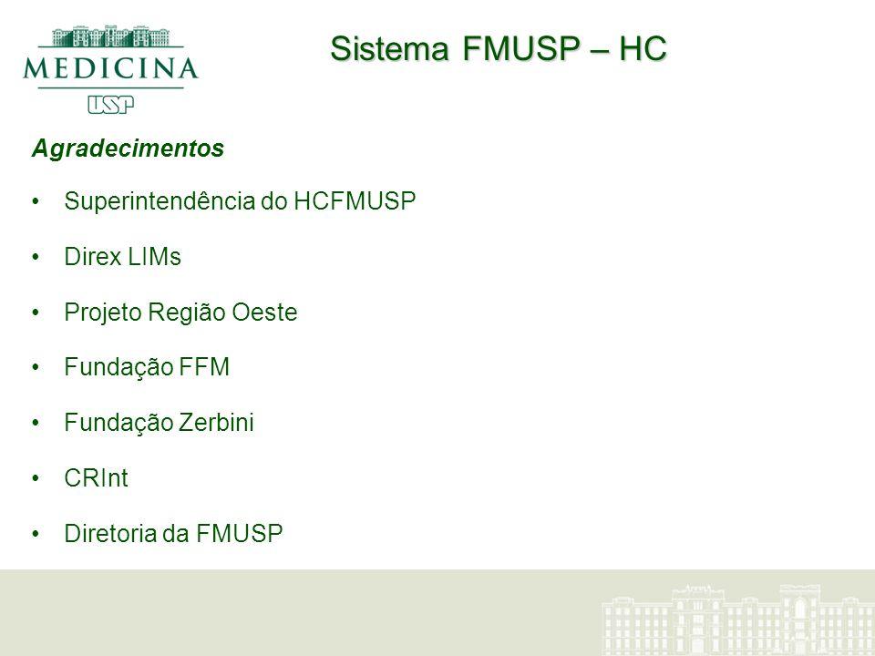 Sistema FMUSP – HC Agradecimentos Superintendência do HCFMUSP Direx LIMs Projeto Região Oeste Fundação FFM Fundação Zerbini CRInt Diretoria da FMUSP