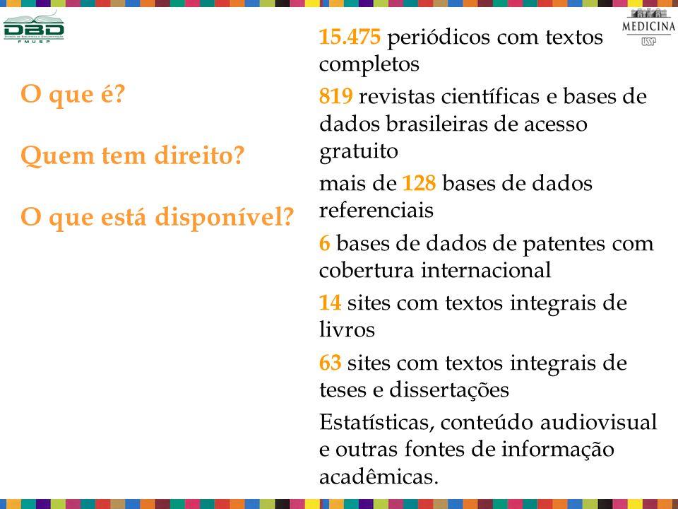 15.475 periódicos com textos completos 819 revistas científicas e bases de dados brasileiras de acesso gratuito mais de 128 bases de dados referenciais 6 bases de dados de patentes com cobertura internacional 14 sites com textos integrais de livros 63 sites com textos integrais de teses e dissertações Estatísticas, conteúdo audiovisual e outras fontes de informação acadêmicas.