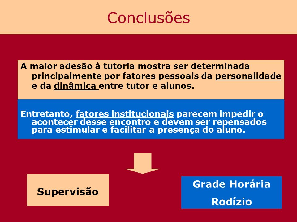Conclusões A maior adesão à tutoria mostra ser determinada principalmente por fatores pessoais da personalidade e da dinâmica entre tutor e alunos. En