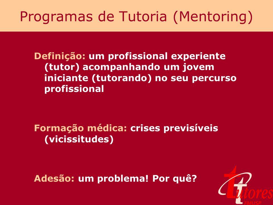 Programas de Tutoria (Mentoring) Definição: um profissional experiente (tutor) acompanhando um jovem iniciante (tutorando) no seu percurso profissiona