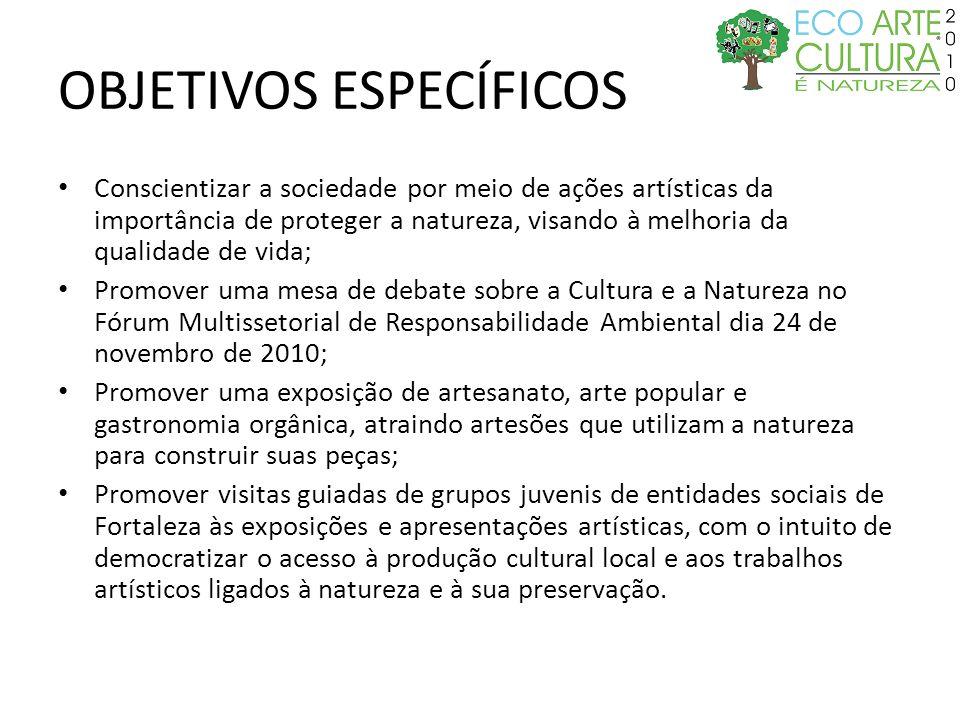 OBJETIVOS ESPECÍFICOS Conscientizar a sociedade por meio de ações artísticas da importância de proteger a natureza, visando à melhoria da qualidade de
