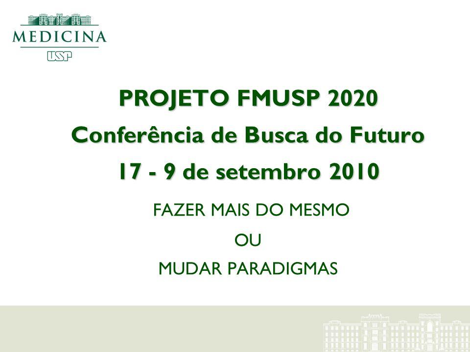 PROJETO FMUSP 2020 Conferência de Busca do Futuro 17 - 9 de setembro 2010 PROJETO FMUSP 2020 Conferência de Busca do Futuro 17 - 9 de setembro 2010 FA