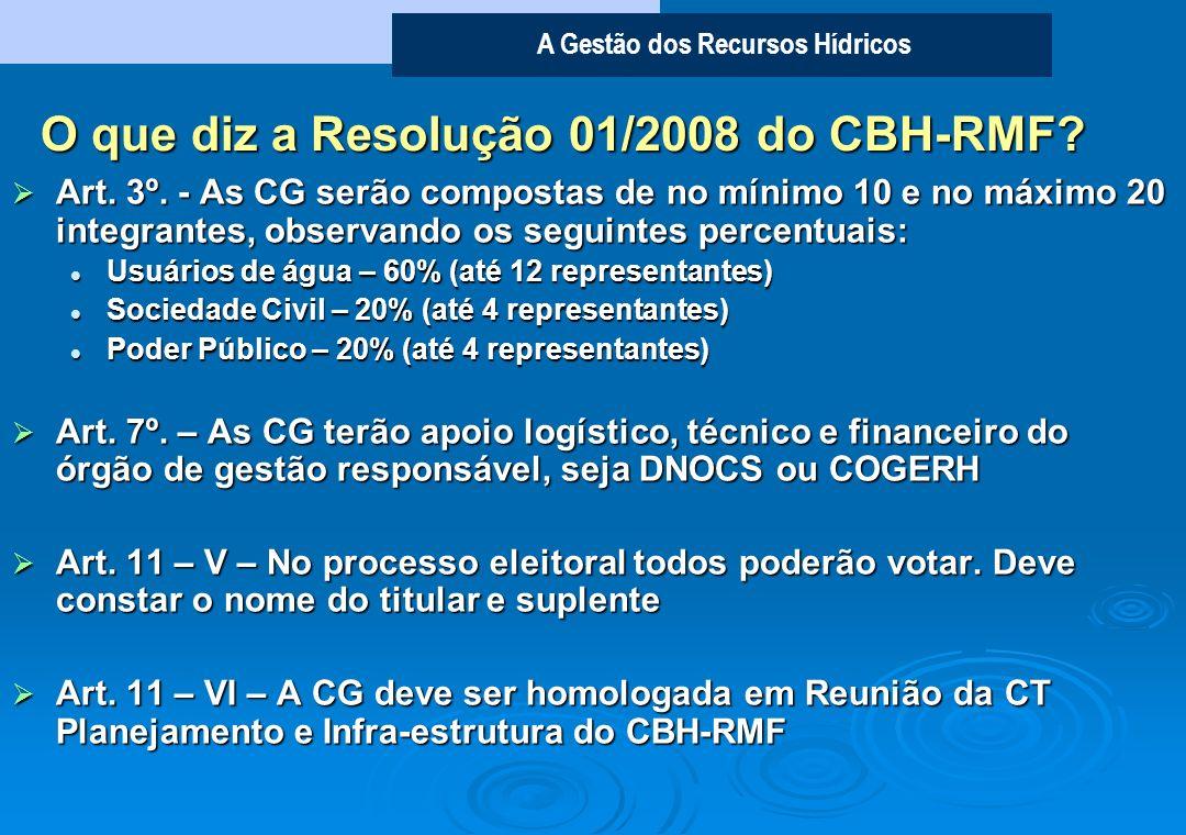 A Gestão dos Recursos Hídricos Quais as atribuições? O que diz a Resolução 02/2007 do CONERH? Definir o calendário de suas reuniões Definir o calendár
