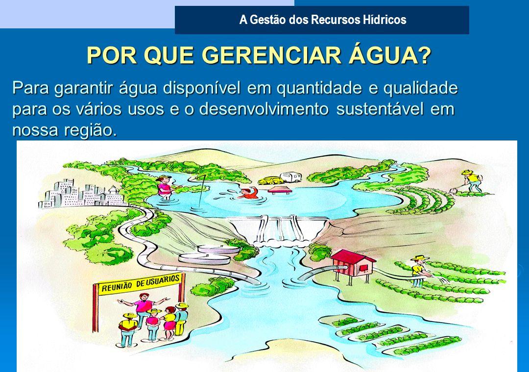 A Gestão dos Recursos Hídricos Representantes dos usuários - 30% Sociedade Civil Organizada - 30% Poder Público Municipal - 20% Poder Público Estadual e Federal - 20% COMPOSIÇÃO DOS COMITÊS DE BACIAS