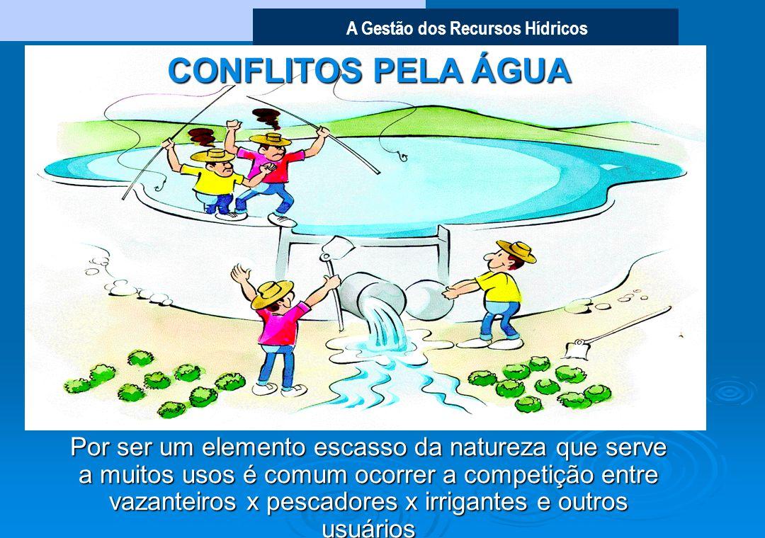 A Gestão dos Recursos Hídricos CONFLITOS PELA ÁGUA Por ser um elemento escasso da natureza que serve a muitos usos é comum ocorrer a competição entre vazanteiros x pescadores x irrigantes e outros usuários