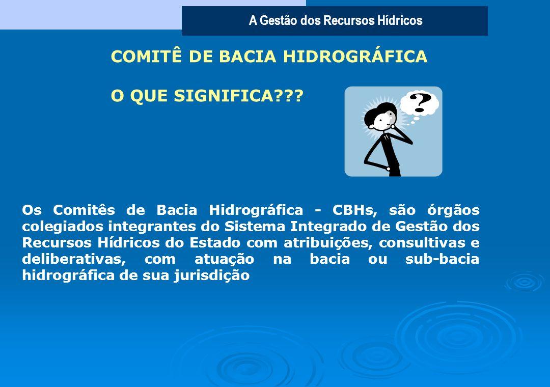 A Gestão dos Recursos Hídricos Os Comitês de Bacia Hidrográfica - CBHs, são órgãos colegiados integrantes do Sistema Integrado de Gestão dos Recursos Hídricos do Estado com atribuições, consultivas e deliberativas, com atuação na bacia ou sub-bacia hidrográfica de sua jurisdição COMITÊ DE BACIA HIDROGRÁFICA O QUE SIGNIFICA???