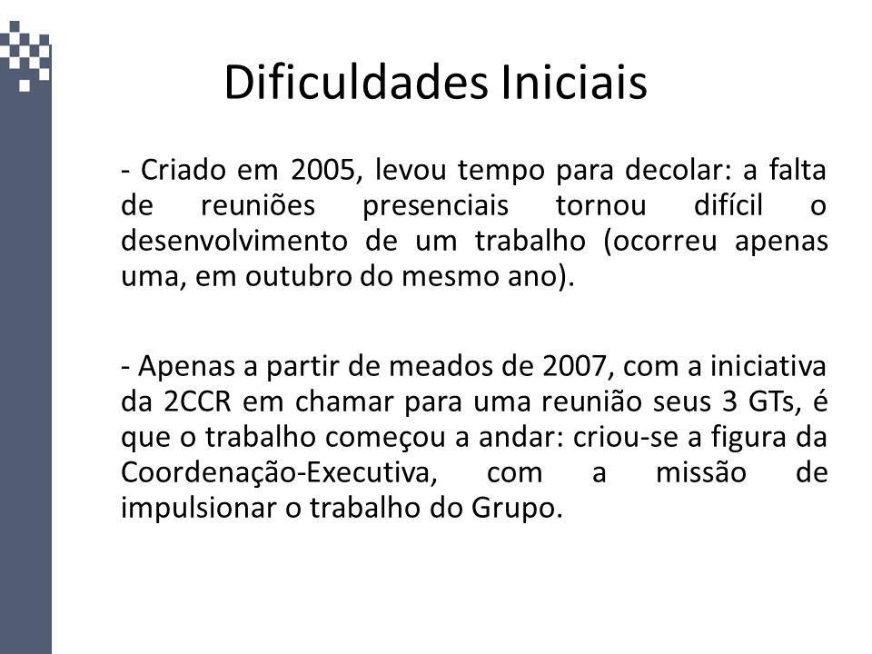 Dificuldades Iniciais - Criado em 2005, levou tempo para decolar: a falta de reuniões presenciais tornou difícil o desenvolvimento de um trabalho (oco