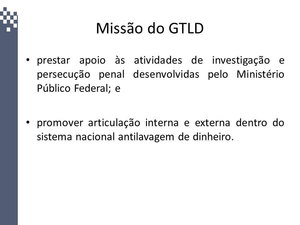 Missão do GTLD prestar apoio às atividades de investigação e persecução penal desenvolvidas pelo Ministério Público Federal; e promover articulação in