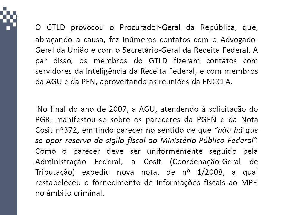 O GTLD provocou o Procurador-Geral da República, que, abraçando a causa, fez inúmeros contatos com o Advogado- Geral da União e com o Secretário-Geral