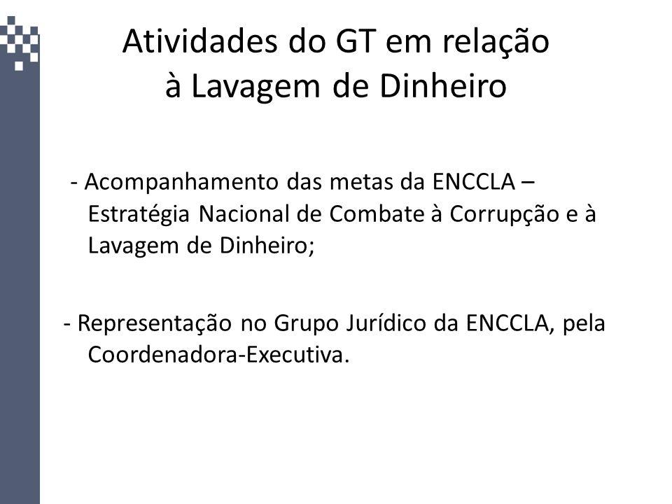 Atividades do GT em relação à Lavagem de Dinheiro - Acompanhamento das metas da ENCCLA – Estratégia Nacional de Combate à Corrupção e à Lavagem de Din