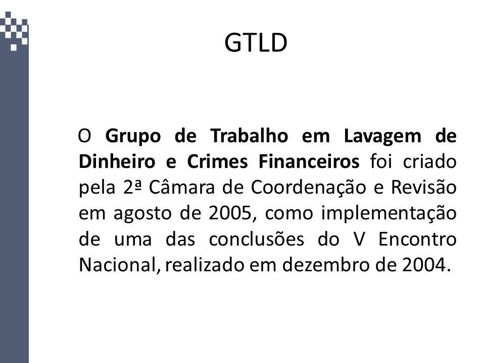 GTLD O Grupo de Trabalho em Lavagem de Dinheiro e Crimes Financeiros foi criado pela 2ª Câmara de Coordenação e Revisão em agosto de 2005, como implem