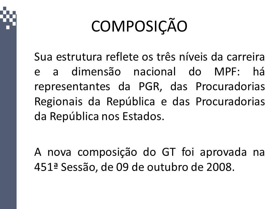 COMPOSIÇÃO Sua estrutura reflete os três níveis da carreira e a dimensão nacional do MPF: há representantes da PGR, das Procuradorias Regionais da Rep