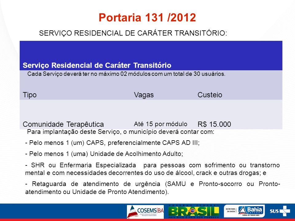 Portaria 131 /2012 Para implantação deste Serviço, o município deverá contar com: - Pelo menos 1 (um) CAPS, preferencialmente CAPS AD III; - Pelo meno
