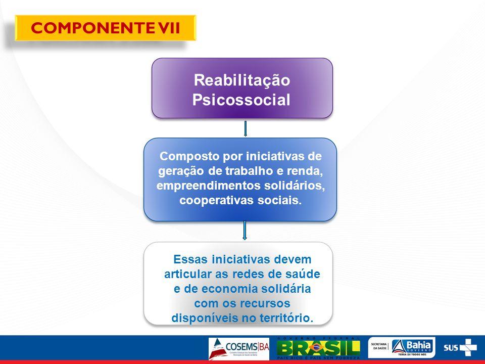 Reabilitação Psicossocial Composto por iniciativas de geração de trabalho e renda, empreendimentos solidários, cooperativas sociais. Essas iniciativas