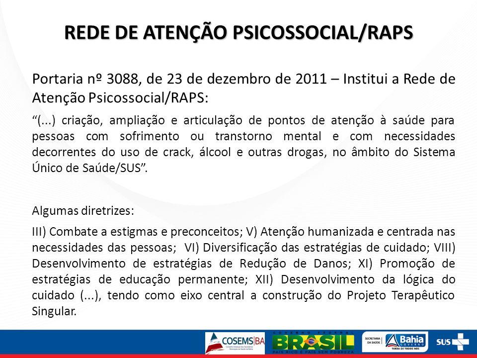 REDE DE ATENÇÃO PSICOSSOCIAL/RAPS Portaria nº 3088, de 23 de dezembro de 2011 – Institui a Rede de Atenção Psicossocial/RAPS: (...) criação, ampliação