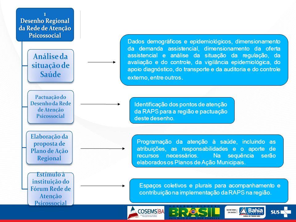 Dados demográficos e epidemiológicos, dimensionamento da demanda assistencial, dimensionamento da oferta assistencial e análise da situação da regulaç