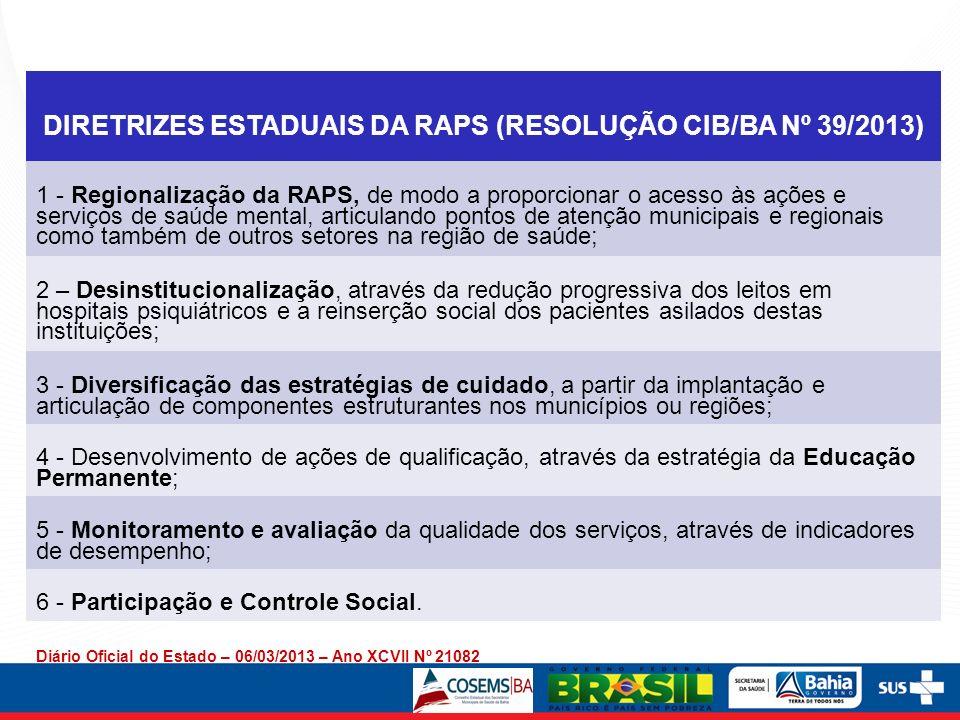DIRETRIZES ESTADUAIS DA RAPS (RESOLUÇÃO CIB/BA Nº 39/2013) 1 - Regionalização da RAPS, de modo a proporcionar o acesso às ações e serviços de saúde me