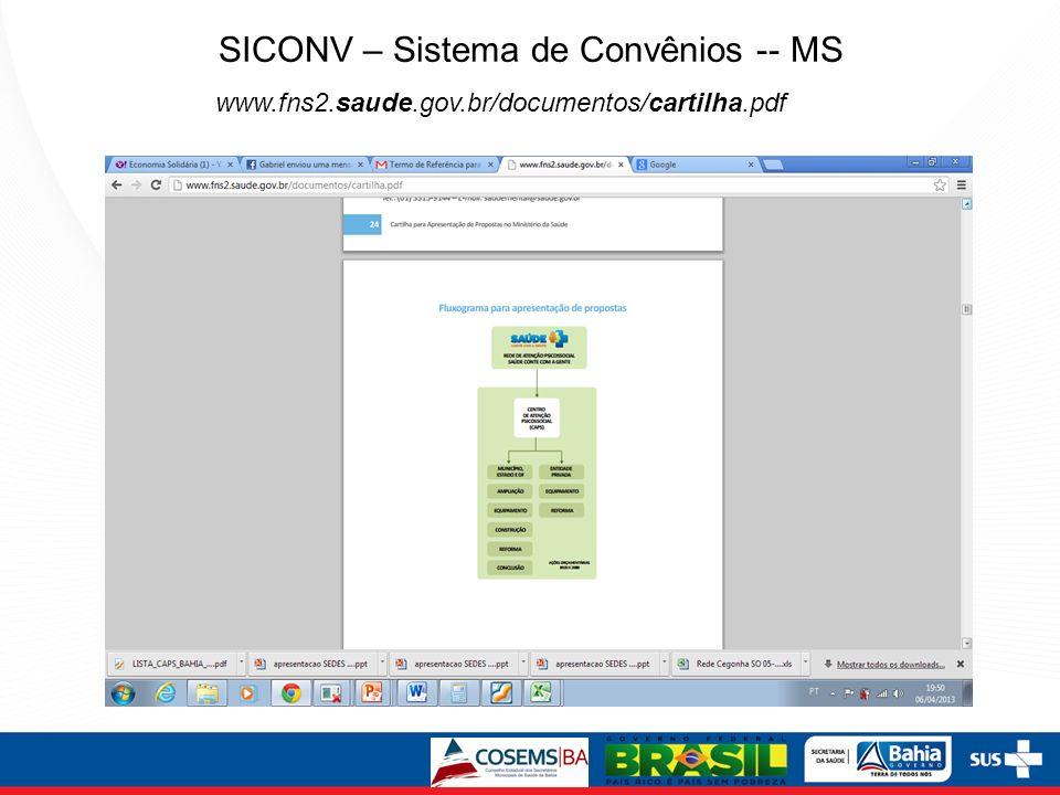 SICONV – Sistema de Convênios -- MS www.fns2.saude.gov.br/documentos/cartilha.pdf